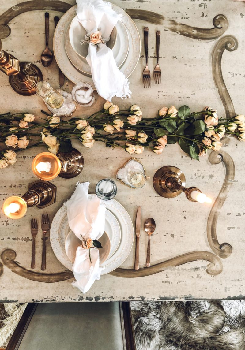 Overhead View of Warm and Romantic Arhaus Tablescape