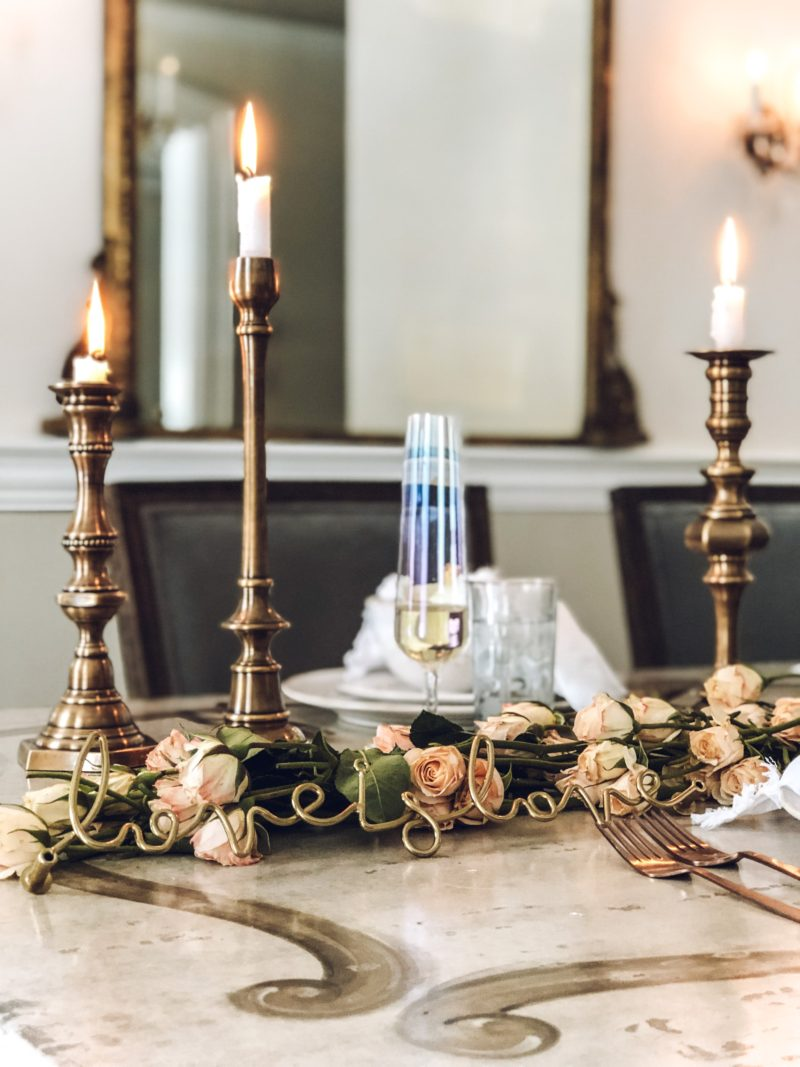Close up of Warm and Romantic Arhaus Tablescape