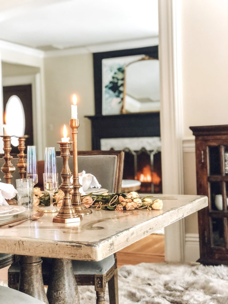 Close up of Enchanting Cozy Arhaus Tablescape